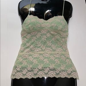 Cosabella green with cream lace camisole tank top